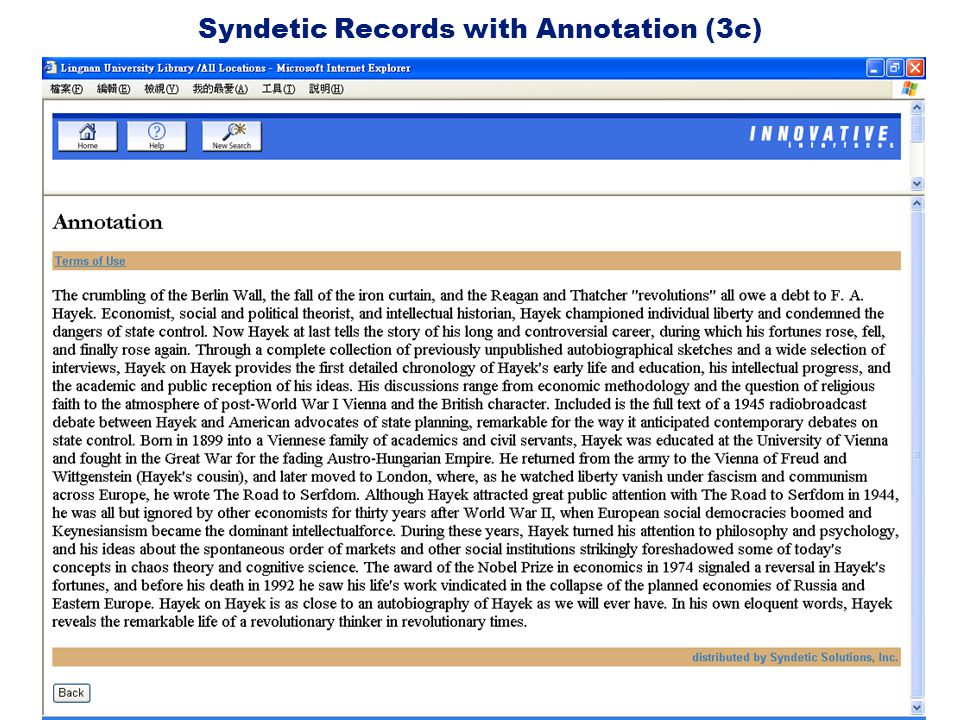 Syndetic Records with Annotation (3c)