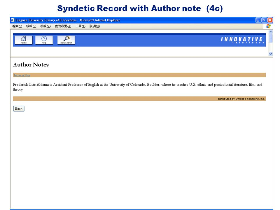 Syndetic Record with Author note (4c)