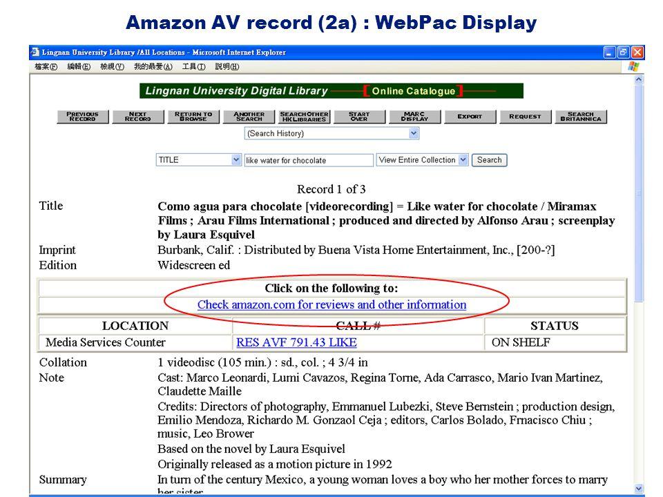 Amazon AV record (2a) : WebPac Display