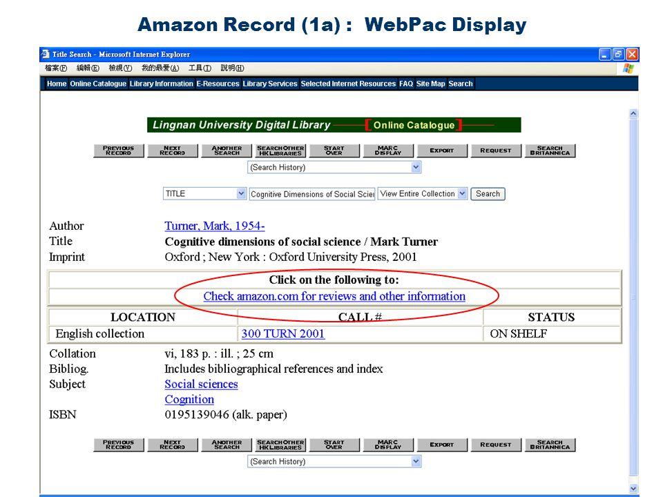 Amazon Record (1a) : WebPac Display