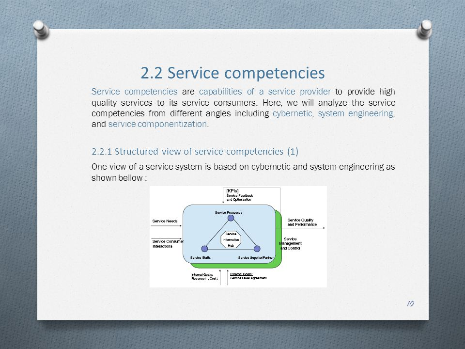 2.2 Service competencies Service competencies are capabilities of a service provider to provide high quality services to its service consumers. Here,