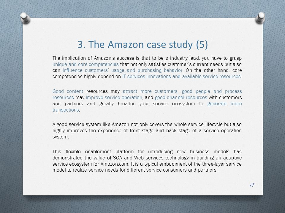 3. The Amazon case study (5) The implication of Amazon's success is that to be a industry lead, you have to grasp unique and core competencies that no
