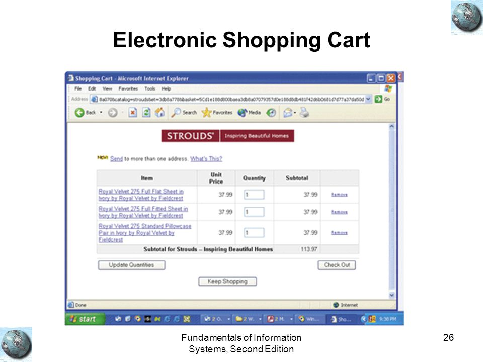 Fundamentals of Information Systems, Second Edition 26 Electronic Shopping Cart