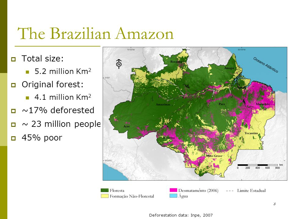 3 The Brazilian Amazon  Total size: 5.2 million Km 2  Original forest: 4.1 million Km 2  ~17% deforested  ~ 23 million people  45% poor Deforestation data: Inpe, 2007