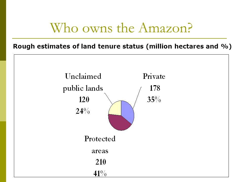 5 Who owns the Amazon Rough estimates of land tenure status (million hectares and %)
