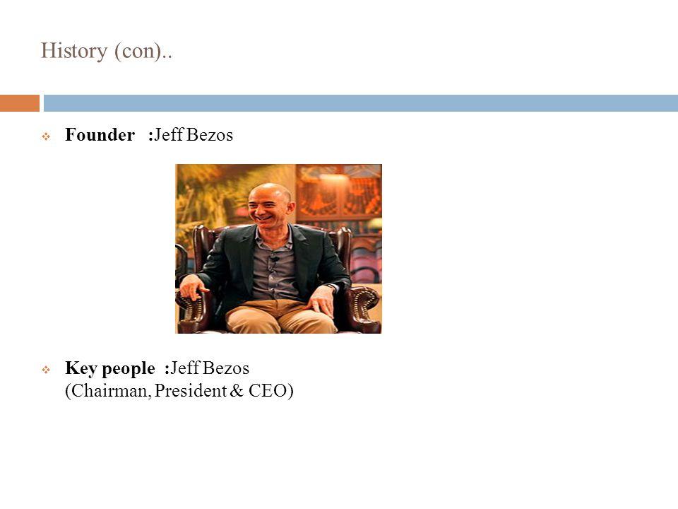 History (con)..  Founder :Jeff Bezos  Key people :Jeff Bezos (Chairman, President & CEO)