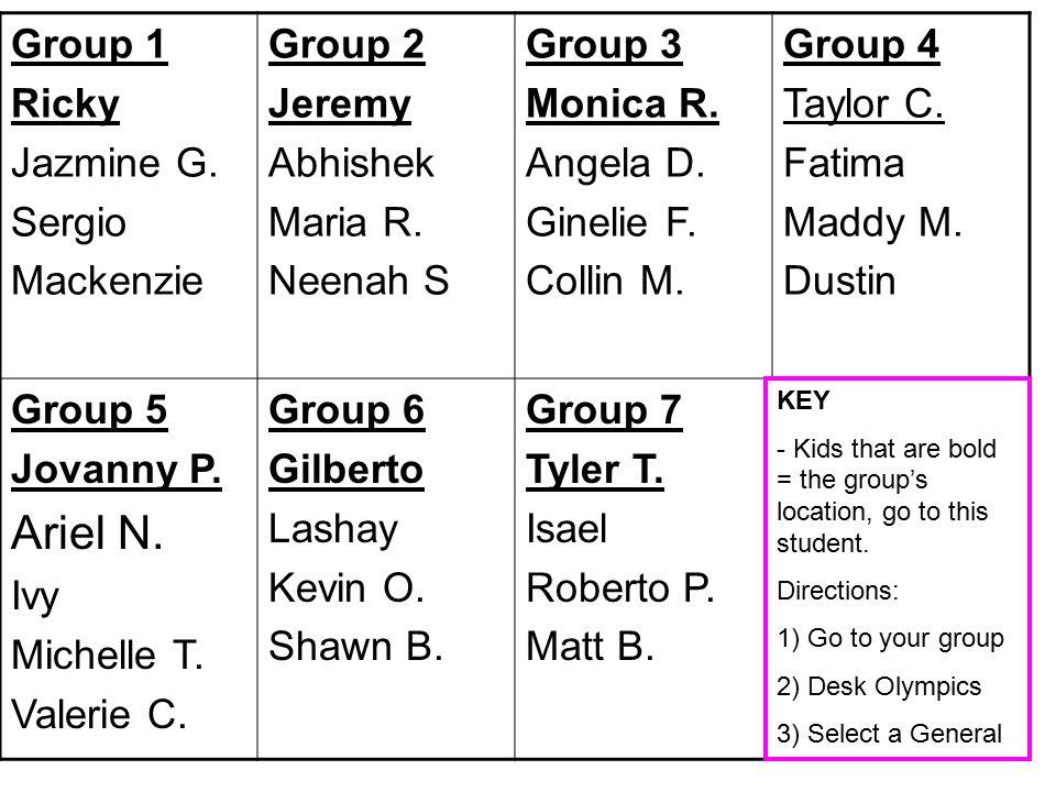 Group 1 Ricky Jazmine G. Sergio Mackenzie Group 2 Jeremy Abhishek Maria R.