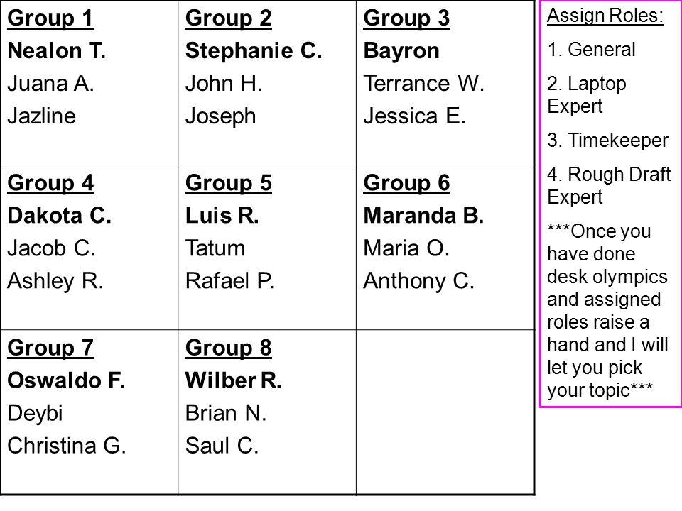 Group 1 Nealon T. Juana A. Jazline Group 2 Stephanie C.