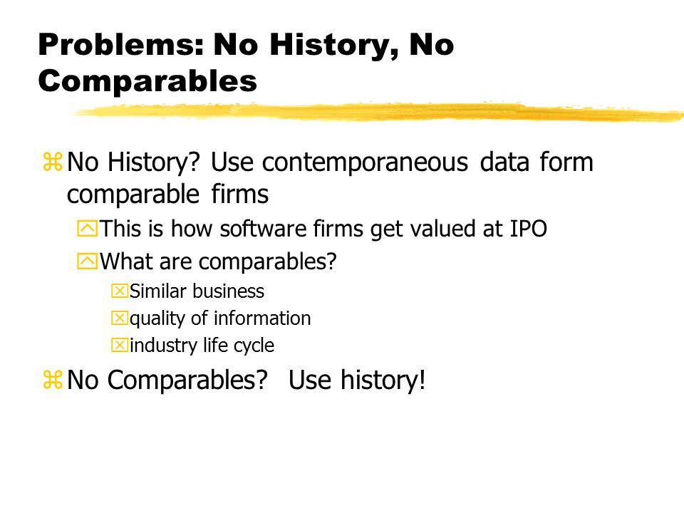 Problems: No History, No Comparables zNo History.