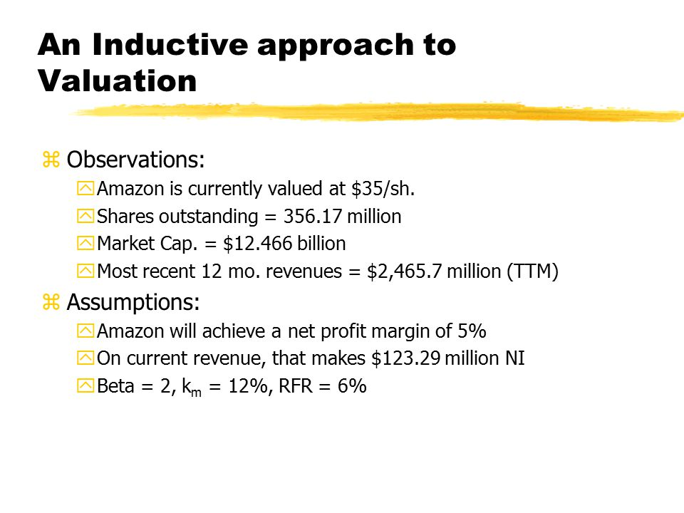An Inductive approach to Valuation zk AMZN = 6% + 2(12%-6%) = 18% zIf Net Income does NOT grow: zValue of equity = $123.285/.18 y= $684.92 yDivided by 356.17 shares = $1.92/share.