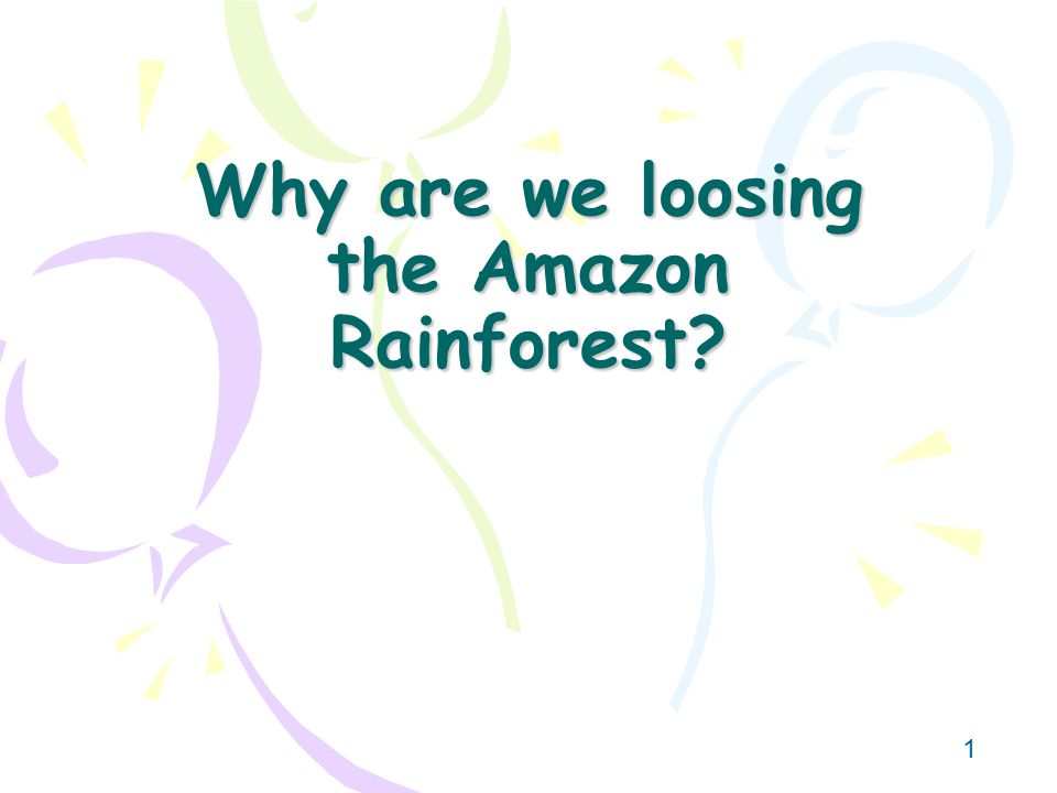 1 Why are we loosing the Amazon Rainforest