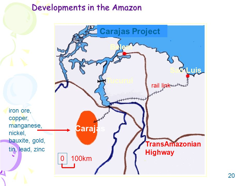 20 Developments in the Amazon Carajas Project iron ore, copper, manganese, nickel, bauxite, gold, tin, lead, zinc Carajas Sao Luis Belem Tucurui TransAmazonian Highway rail link 0 100km