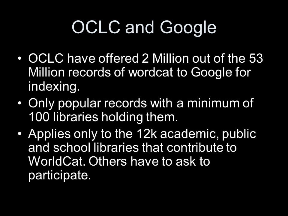 OCLC in Google
