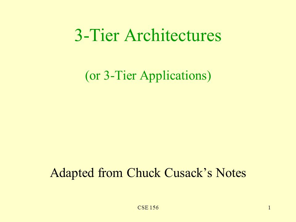 CSE 1561 3-Tier Architectures (or 3-Tier Applications) Adapted from Chuck Cusack's Notes