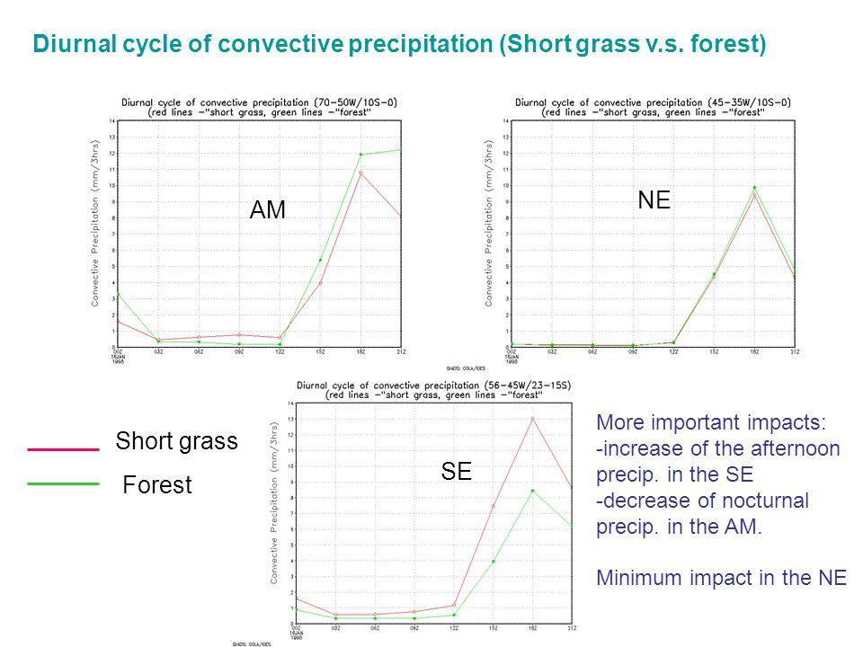 AM NE SE Diurnal cycle of convective precipitation (Short grass v.s.