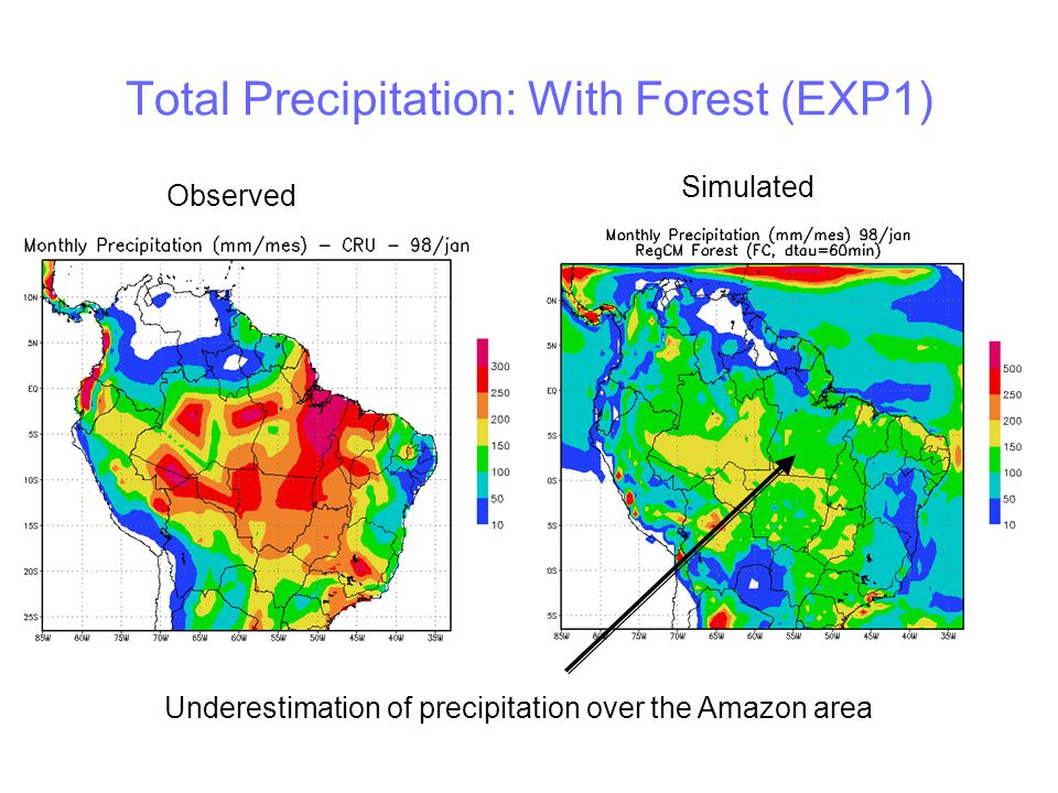 Mean Temperature: With Forest (EXP1) Simulated temperatures are lower than observed Observed Simulated