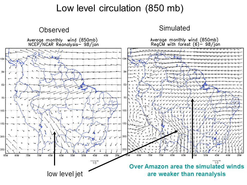 Low level circulation (850 mb) low level jet Over Amazon area the simulated winds are weaker than reanalysis Observed Simulated