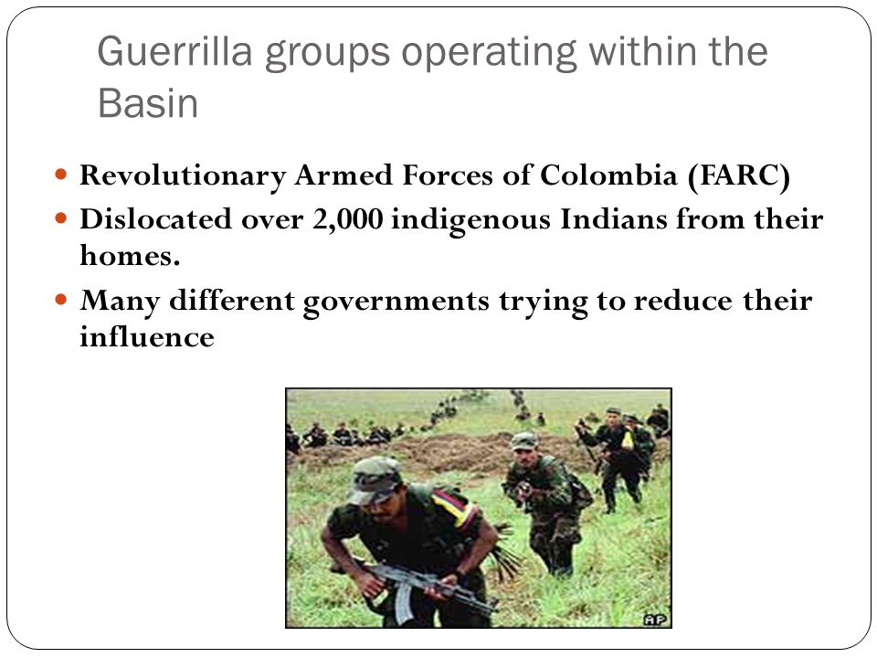 Guerrilla groups operating within the Basin Revolutionary Armed Forces of Colombia (FARC) Dislocated over 2,000 indigenous Indians from their homes. M