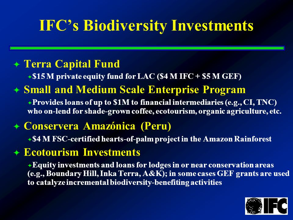 IFC's Biodiversity Investments  Terra Capital Fund  $15 M private equity fund for LAC ($4 M IFC + $5 M GEF)  Small and Medium Scale Enterprise Program  Provides loans of up to $1M to financial intermediaries (e.g., CI, TNC) who on-lend for shade-grown coffee, ecotourism, organic agriculture, etc.