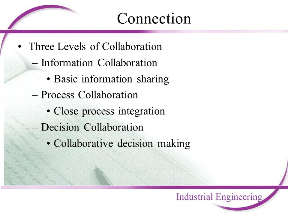 Connection Three Levels of Collaboration –Information Collaboration Basic information sharing –Process Collaboration Close process integration –Decisi