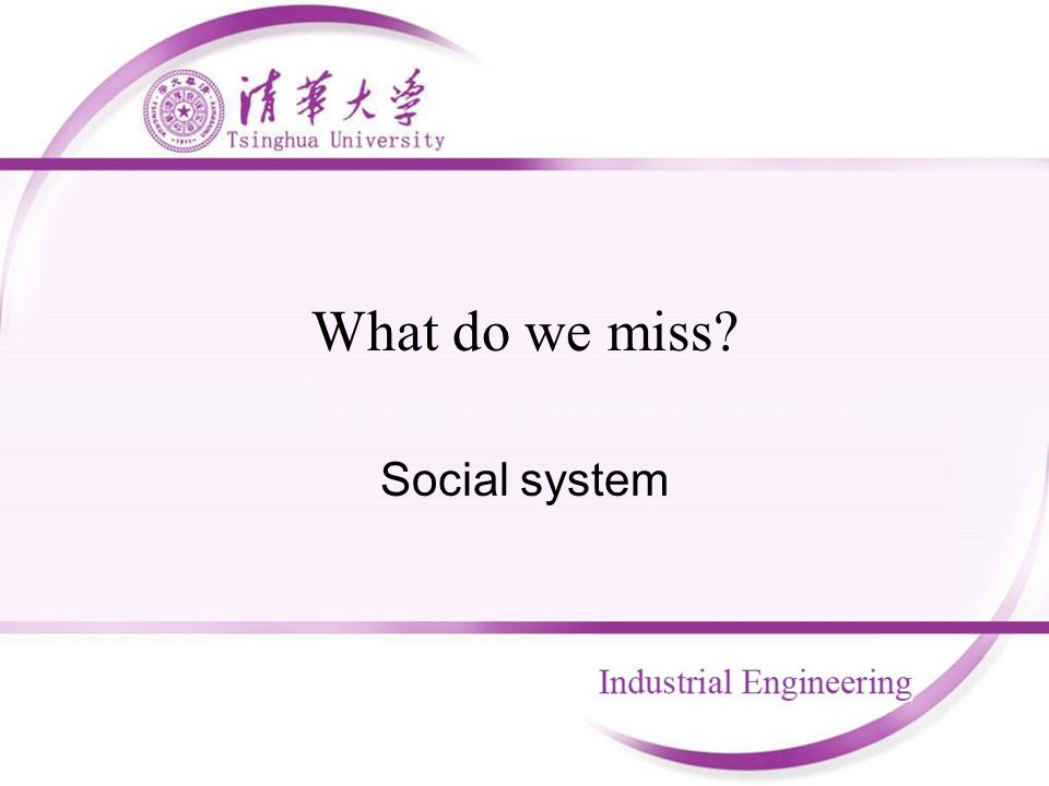 What do we miss? Social system