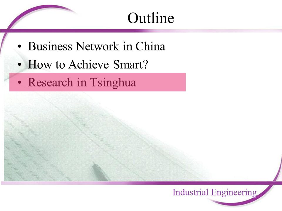 Outline Business Network in China How to Achieve Smart? Research in Tsinghua
