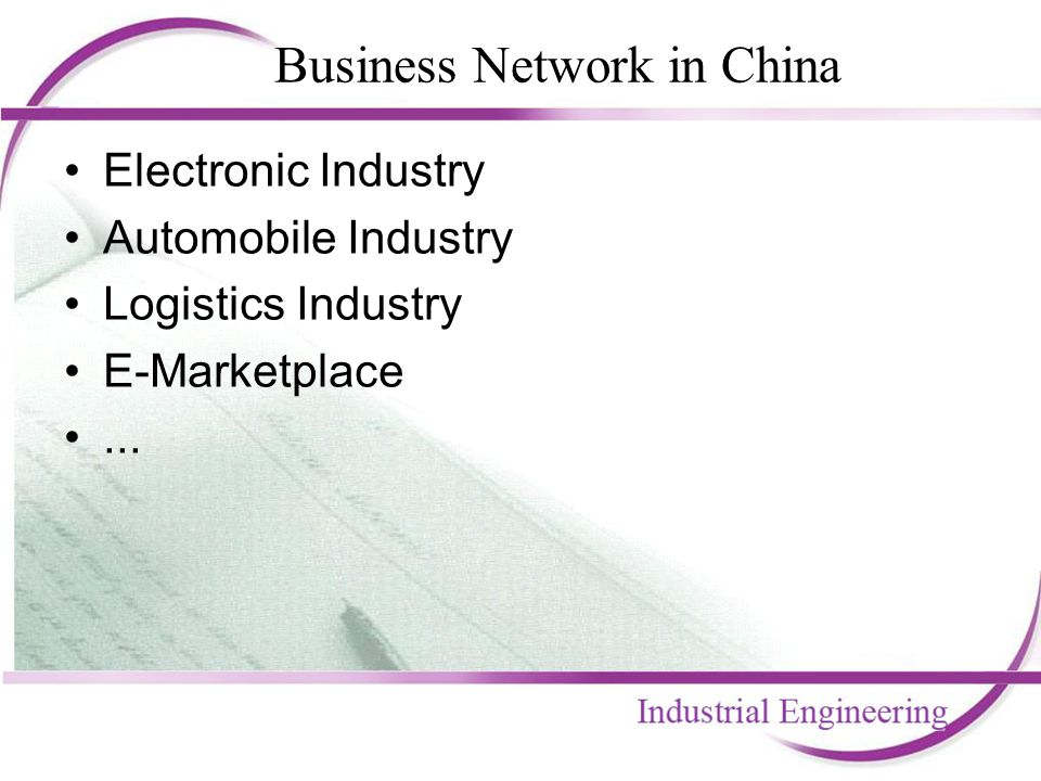 Business Network in China Electronic Industry Automobile Industry Logistics Industry E-Marketplace...