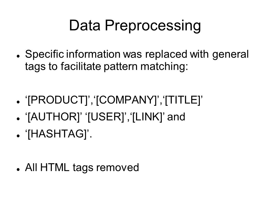 Data Preprocessing Specific information was replaced with general tags to facilitate pattern matching: '[PRODUCT]','[COMPANY]','[TITLE]' '[AUTHOR]' '[