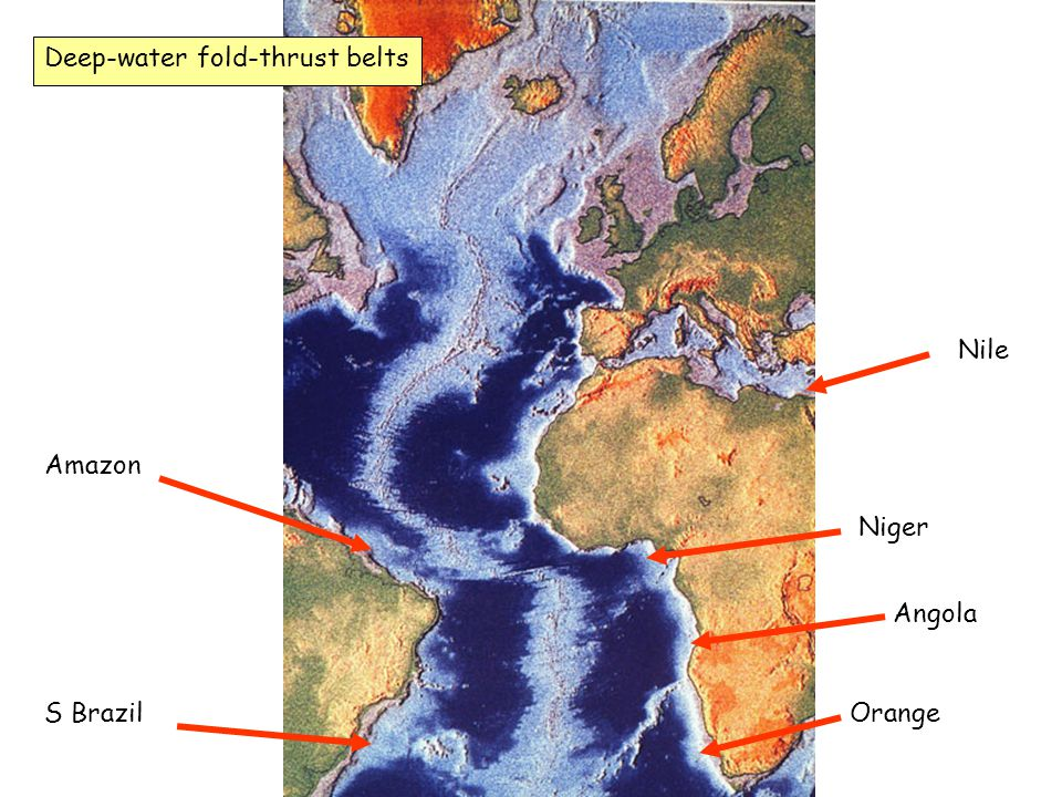 Amazon S Brazil Niger Orange Nile Deep-water fold-thrust belts Angola