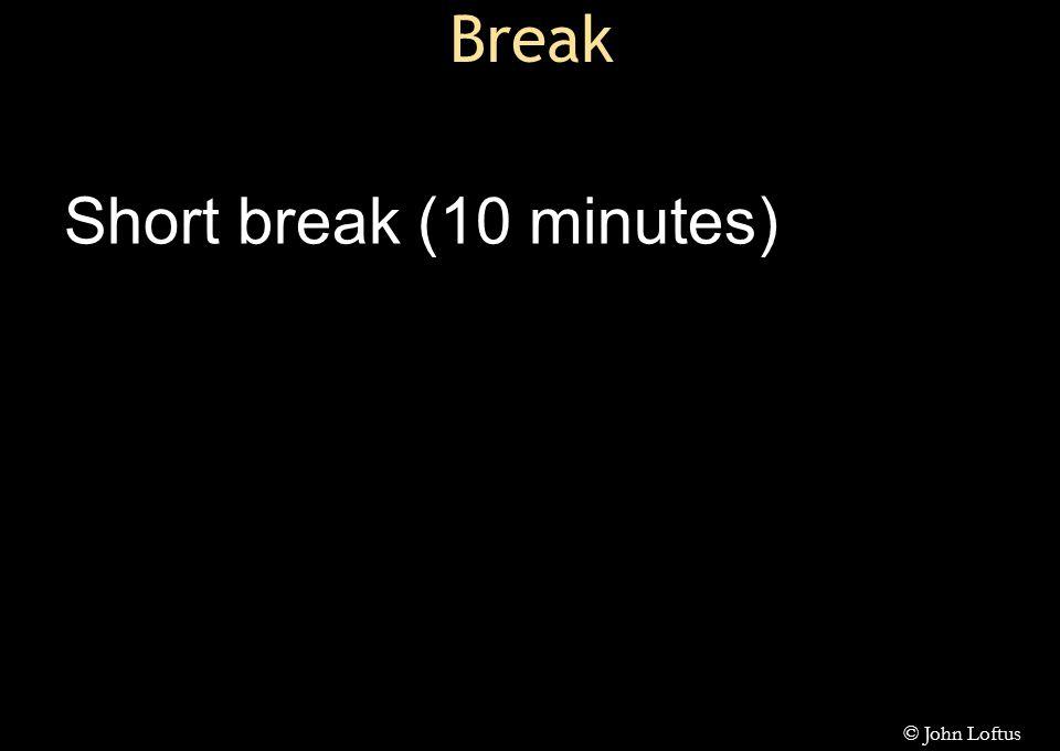 Break Short break (10 minutes) © John Loftus