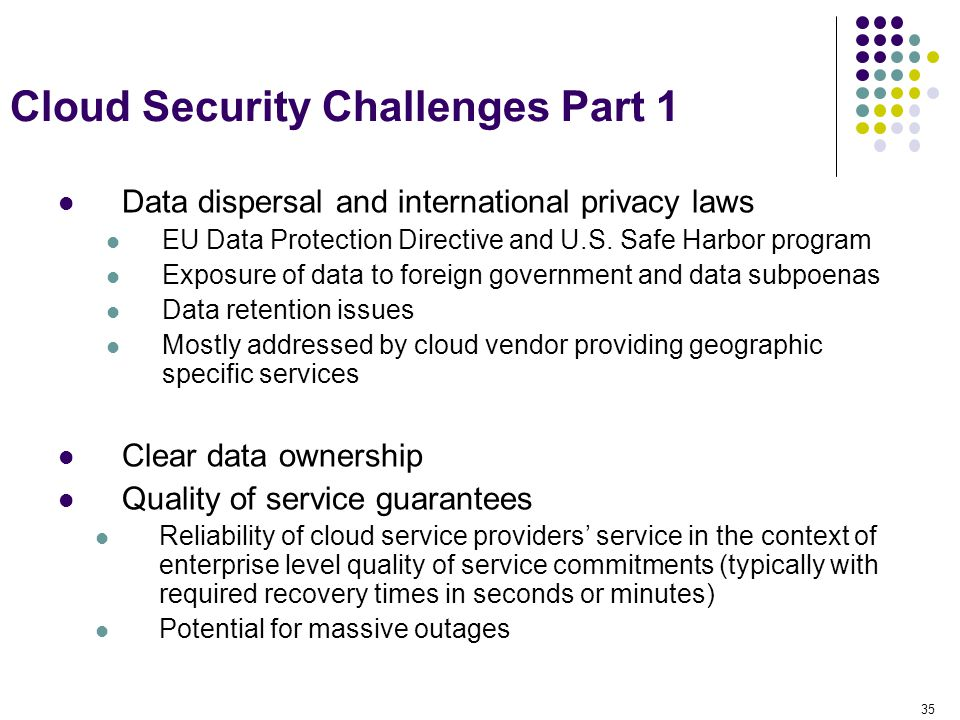 35 Cloud Security Challenges Part 1 Data dispersal and international privacy laws EU Data Protection Directive and U.S. Safe Harbor program Exposure o