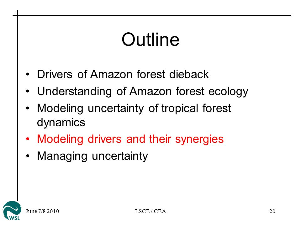 June 7/8 2010LSCE / CEA20 Outline Drivers of Amazon forest dieback Understanding of Amazon forest ecology Modeling uncertainty of tropical forest dynamics Modeling drivers and their synergies Managing uncertainty