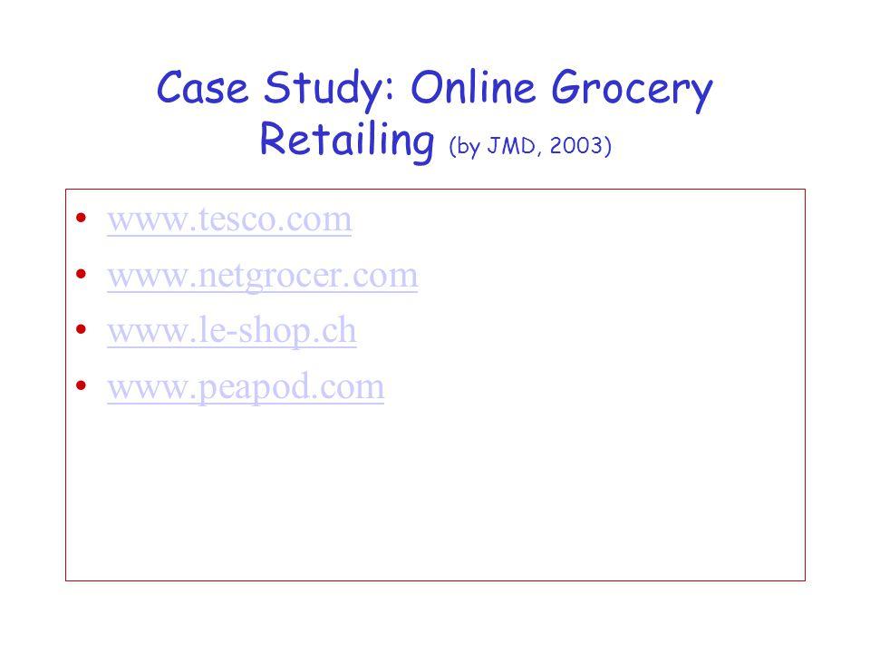 Case Study: Online Grocery Retailing (by JMD, 2003) www.tesco.com www.netgrocer.com www.le-shop.ch www.peapod.com