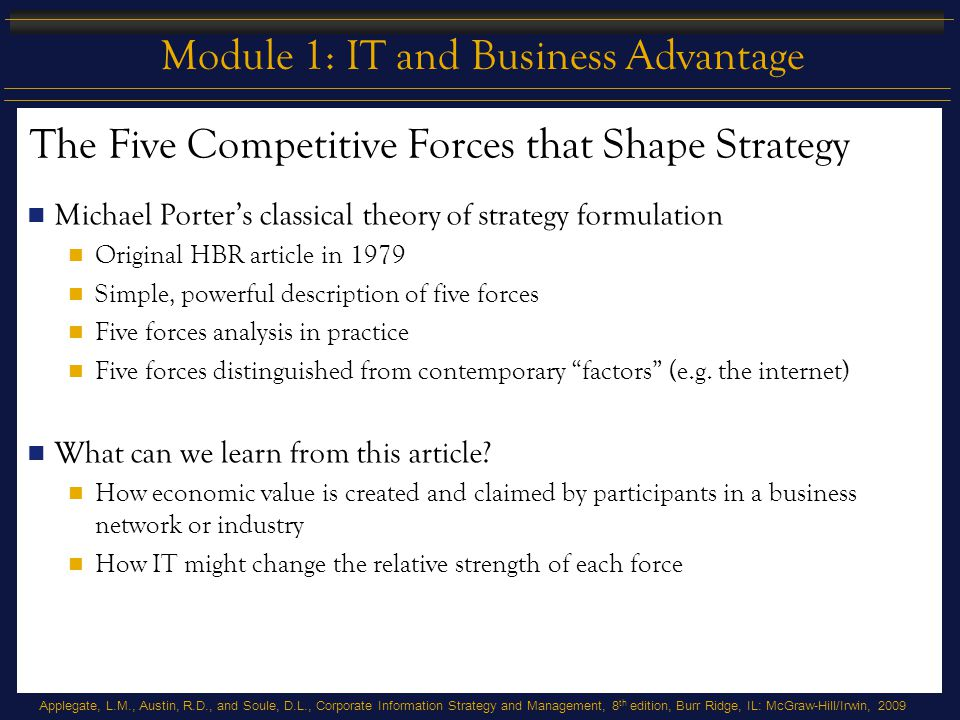 Applegate, L.M., Austin, R.D., and Soule, D.L., Corporate Information Strategy and Management, 8 th edition, Burr Ridge, IL: McGraw-Hill/Irwin, 2009 Module 1: IT and Business Advantage Amazon.com: The Brink of Bankruptcy Traces evolution of Amazon.com from founding in 1994 to 2001 The case ends with the company poised at the brink of bankruptcy What can we learn from this case.