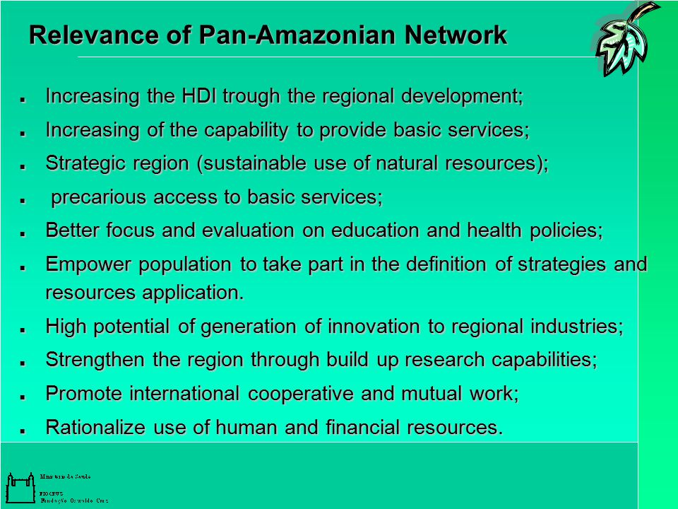 Relevance of Pan-Amazonian Network Increasing the HDI trough the regional development; Increasing the HDI trough the regional development; Increasing of the capability to provide basic services; Increasing of the capability to provide basic services; Strategic region (sustainable use of natural resources); Strategic region (sustainable use of natural resources); precarious access to basic services; precarious access to basic services; Better focus and evaluation on education and health policies; Better focus and evaluation on education and health policies; Empower population to take part in the definition of strategies and resources application.