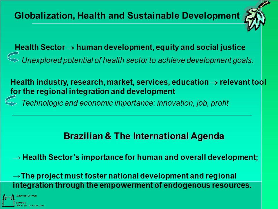 Globalization, Health and Sustainable Development Health Sector  human development, equity and social justice Unexplored potential of health sector to achieve development goals.