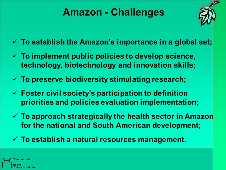 Amazon - Challenges To establish the Amazon's importance in a global set; To implement public policies to develop science, technology, biotechnology and innovation skills; To preserve biodiversity stimulating research; Foster civil society's participation to definition priorities and policies evaluation implementation; To approach strategically the health sector in Amazon for the national and South American development; To establish a natural resources management.
