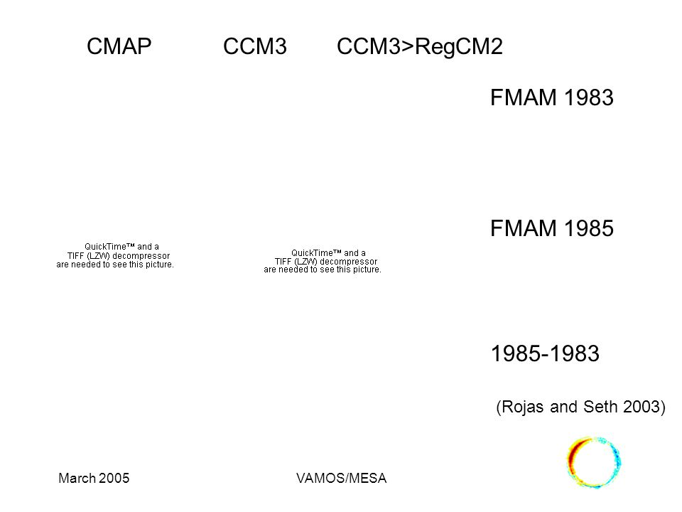 March 2005VAMOS/MESA FMAM 1983 (Rojas and Seth 2003) FMAM 1985 1985-1983 CMAPCCM3CCM3>RegCM2