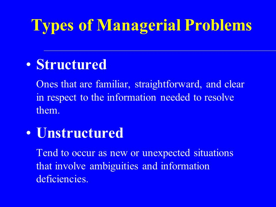 Types of Managerial Problems Structured Ones that are familiar, straightforward, and clear in respect to the information needed to resolve them. Unstr