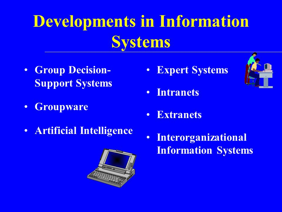 Developments in Information Systems Group Decision- Support Systems Groupware Artificial Intelligence Expert Systems Intranets Extranets Interorganiza