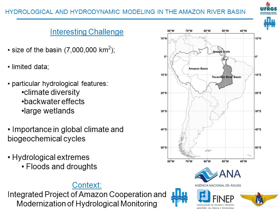 Main topics of the PhD studies: Development of a hydrological – hydrodynamic model for the Amazon River basin Studying Amazon hydrological processes using modelling results and remote sensing The role of floodplains Data assimilation of remote sensing data into hydrological models Forecast systems Retrospective analyses of extreme events (floods, droughts)
