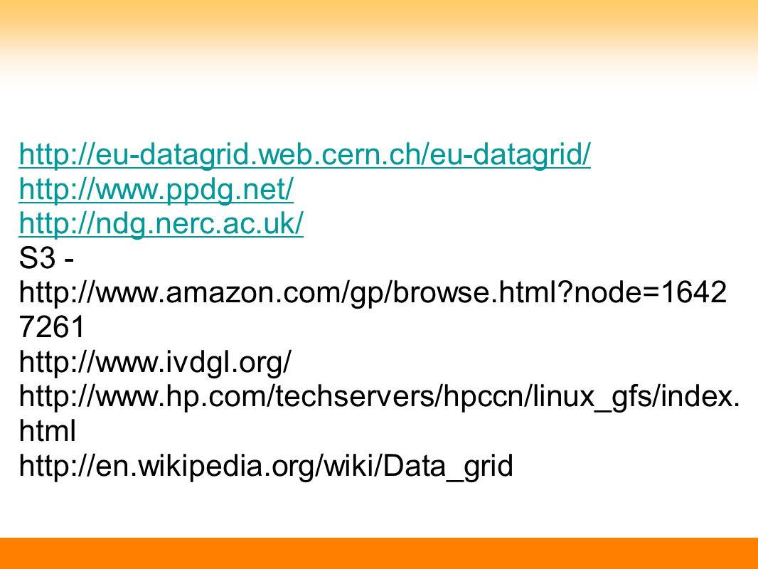 http://eu-datagrid.web.cern.ch/eu-datagrid/ http://www.ppdg.net/ http://ndg.nerc.ac.uk/ http://ndg.nerc.ac.uk/ S3 - http://www.amazon.com/gp/browse.html node=1642 7261 http://www.ivdgl.org/ http://www.hp.com/techservers/hpccn/linux_gfs/index.