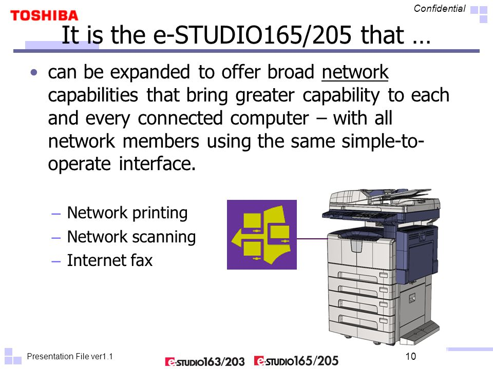 Presentation File ver1.1 Confidential 10 It is the e-STUDIO165/205 that … can be expanded to offer broad network capabilities that bring greater capab