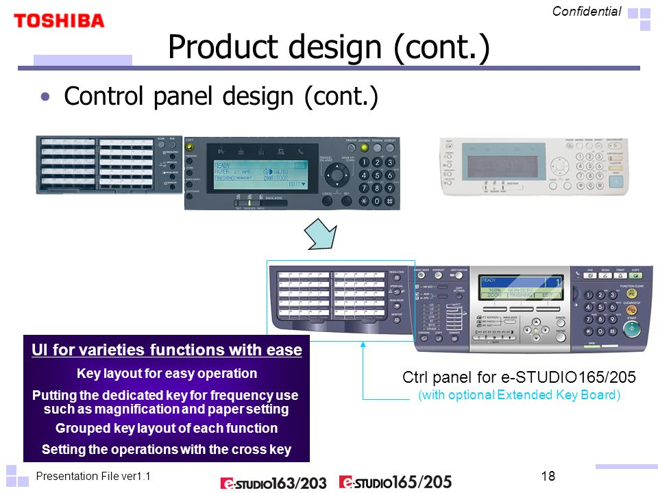 Presentation File ver1.1 Confidential 18 Product design (cont.) Control panel design (cont.) Ctrl panel for e-STUDIO165/205 (with optional Extended Key Board) UI for varieties functions with ease Key layout for easy operation Putting the dedicated key for frequency use such as magnification and paper setting Grouped key layout of each function Setting the operations with the cross key