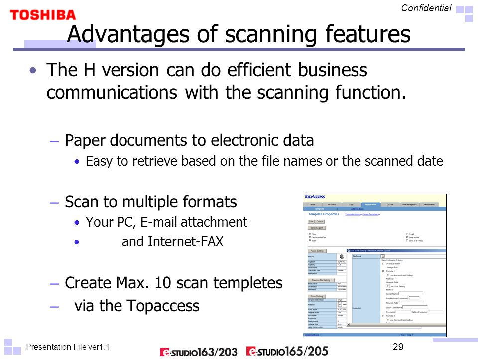 Presentation File ver1.1 Confidential 29 Advantages of scanning features The H version can do efficient business communications with the scanning func