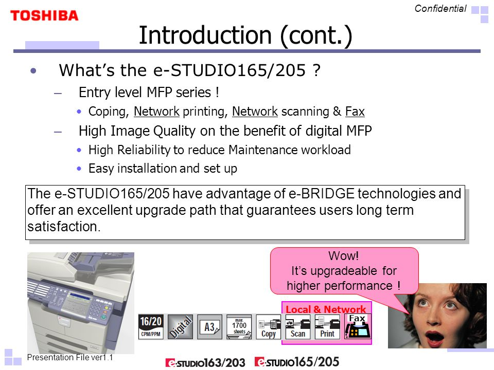 Presentation File ver1.1 Confidential Local & Network Introduction (cont.) What's the e-STUDIO165/205 ? – Entry level MFP series ! Coping, Network pri