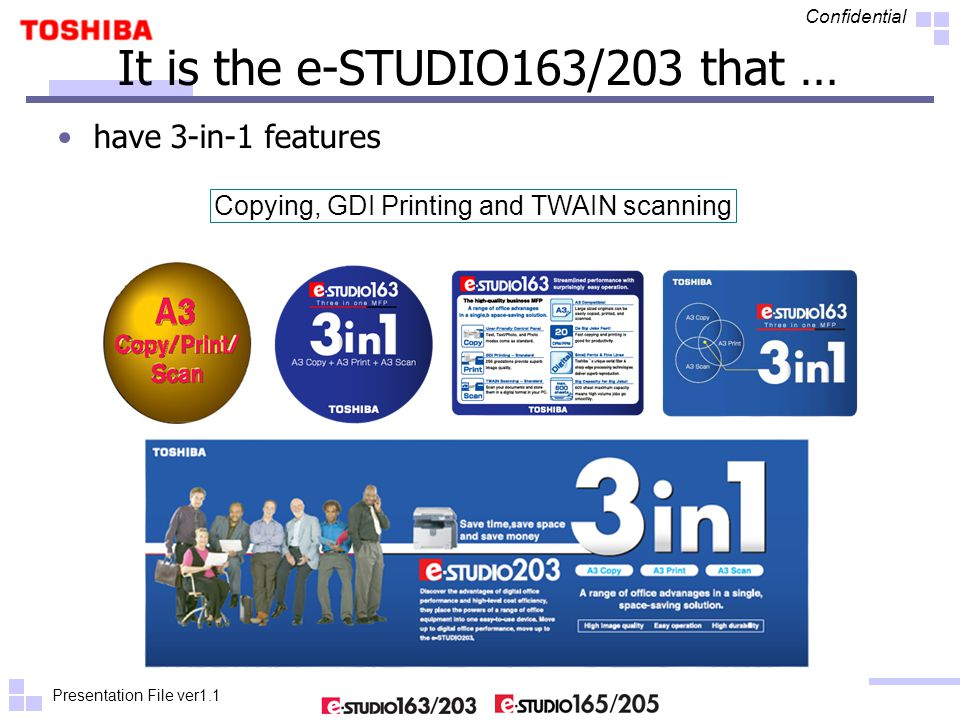 Presentation File ver1.1 Confidential 10 It is the e-STUDIO165/205 that … can be expanded to offer broad network capabilities that bring greater capability to each and every connected computer – with all network members using the same simple-to- operate interface.
