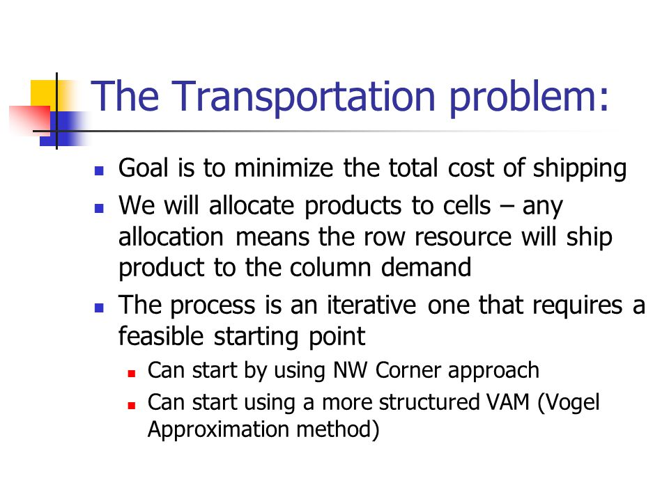 The Transportation problem: Goal is to minimize the total cost of shipping We will allocate products to cells – any allocation means the row resource will ship product to the column demand The process is an iterative one that requires a feasible starting point Can start by using NW Corner approach Can start using a more structured VAM (Vogel Approximation method)