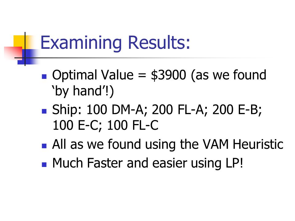 Examining Results: Optimal Value = $3900 (as we found 'by hand'!) Ship: 100 DM-A; 200 FL-A; 200 E-B; 100 E-C; 100 FL-C All as we found using the VAM Heuristic Much Faster and easier using LP!