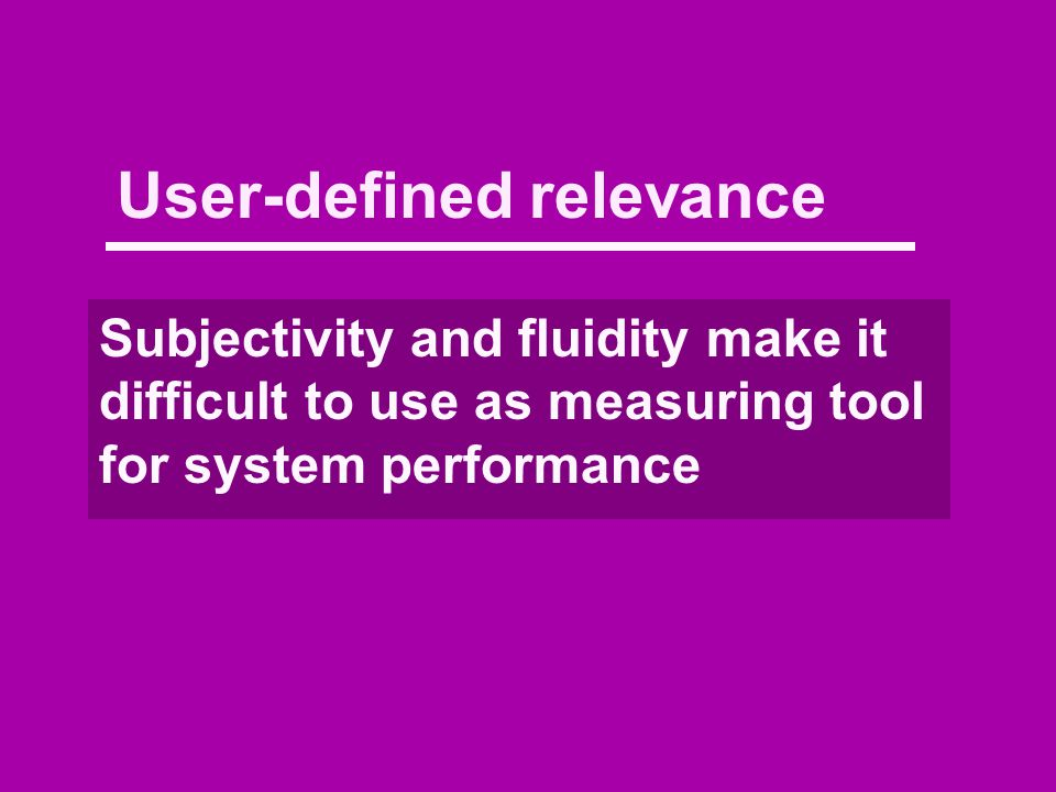 User-defined relevance Subjectivity and fluidity make it difficult to use as measuring tool for system performance